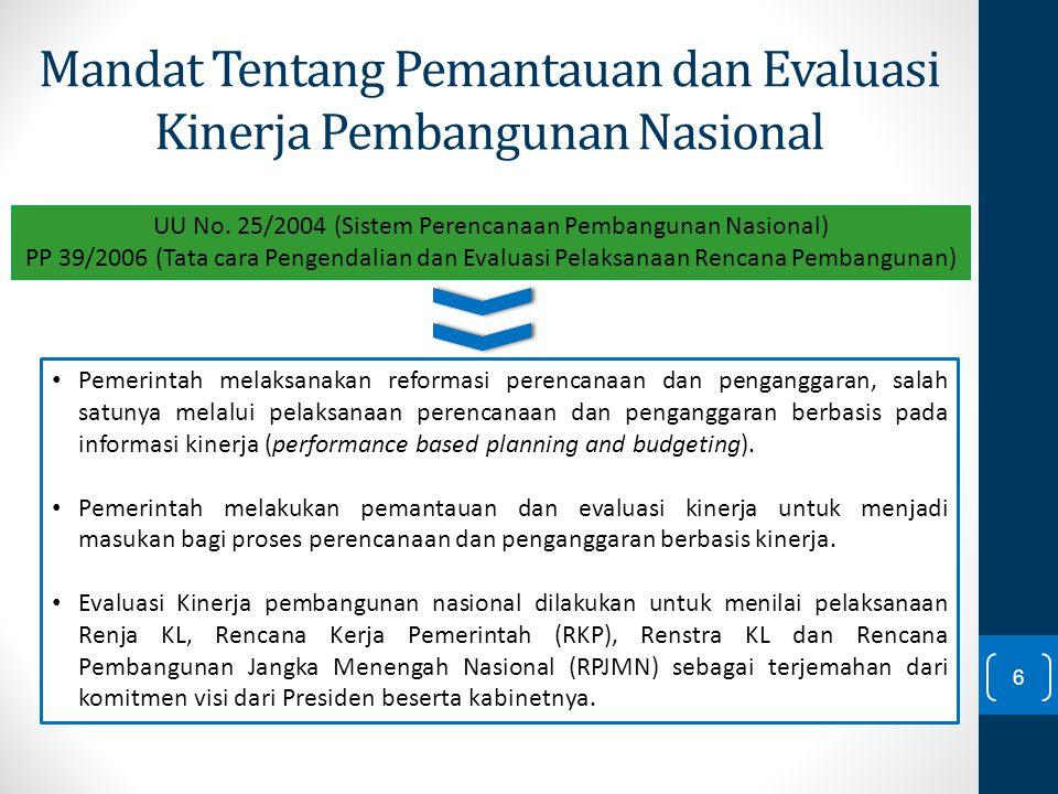 Mandat Tentang Pemantauan dan Evaluasi Kinerja Pembangunan Nasional