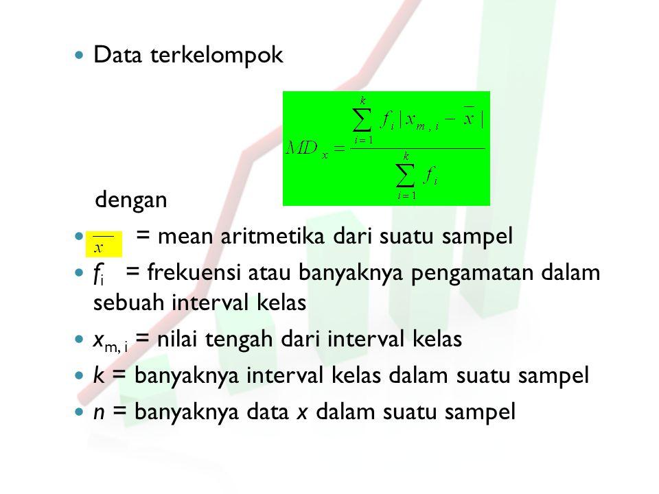 Data terkelompok dengan. = mean aritmetika dari suatu sampel. fi = frekuensi atau banyaknya pengamatan dalam sebuah interval kelas.