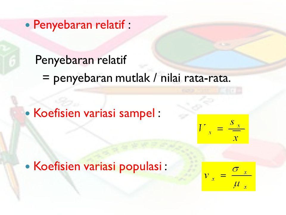 Penyebaran relatif : Penyebaran relatif. = penyebaran mutlak / nilai rata-rata. Koefisien variasi sampel :