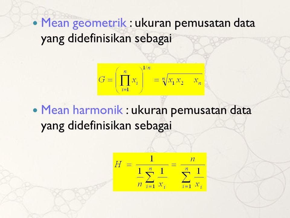 Mean geometrik : ukuran pemusatan data yang didefinisikan sebagai
