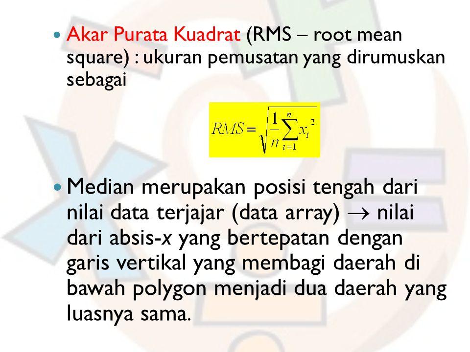 Akar Purata Kuadrat (RMS – root mean square) : ukuran pemusatan yang dirumuskan sebagai