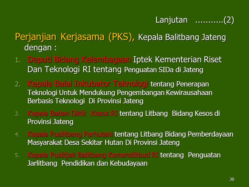 Perjanjian Kerjasama (PKS), Kepala Balitbang Jateng dengan :