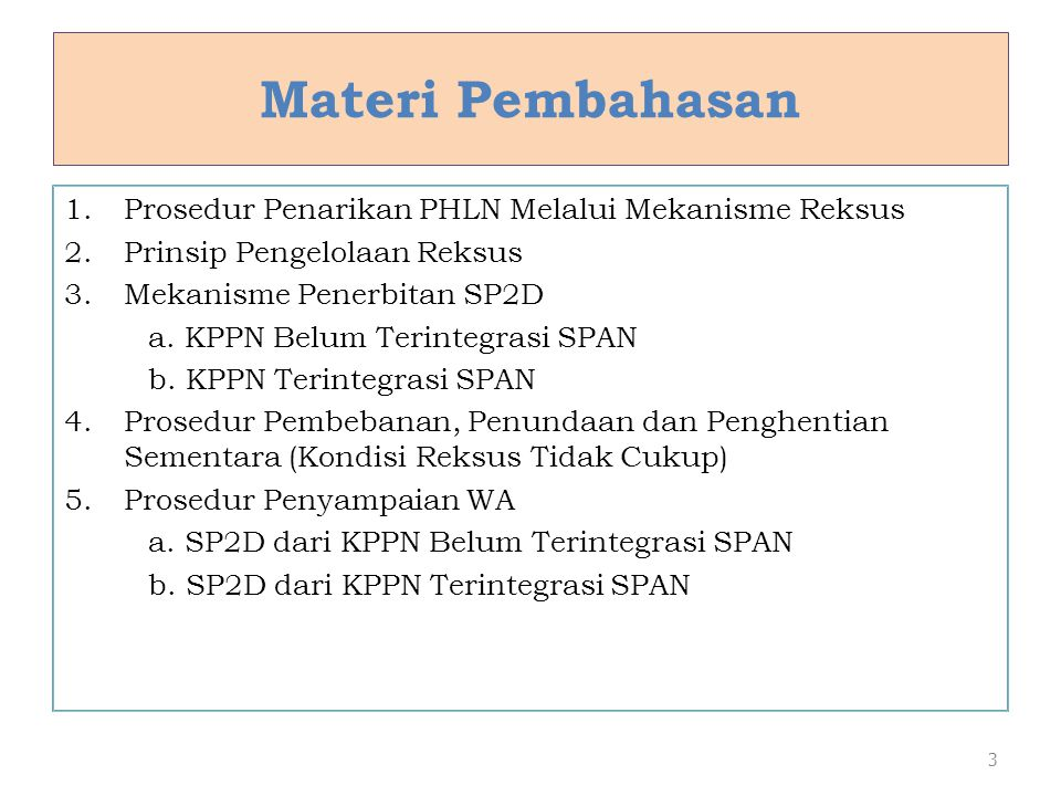 Materi Pembahasan Prosedur Penarikan PHLN Melalui Mekanisme Reksus