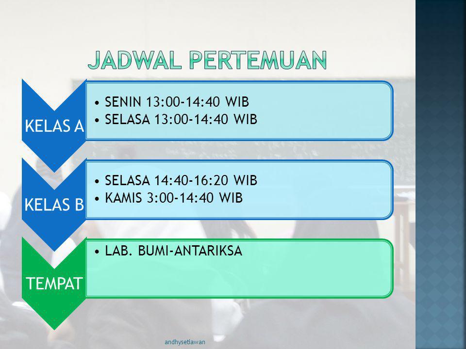 JADWAL PERTEMUAN andhysetiawan KELAS A SENIN 13:00-14:40 WIB