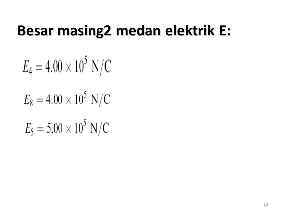 Besar masing2 medan elektrik E: