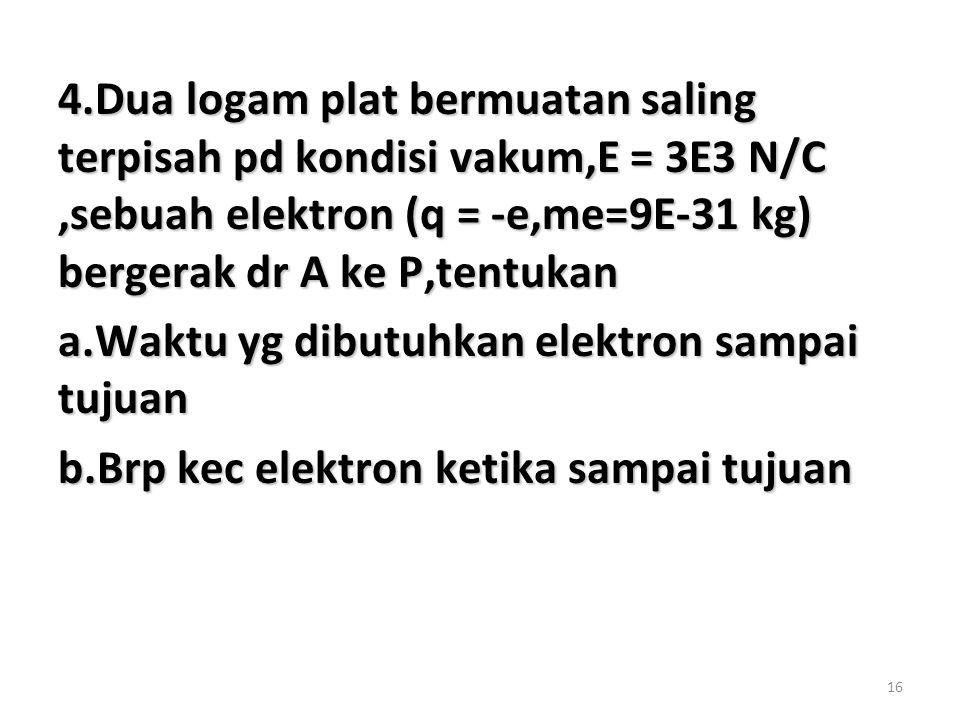 4.Dua logam plat bermuatan saling terpisah pd kondisi vakum,E = 3E3 N/C ,sebuah elektron (q = -e,me=9E-31 kg) bergerak dr A ke P,tentukan