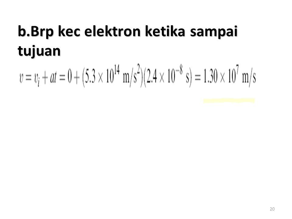 b.Brp kec elektron ketika sampai tujuan