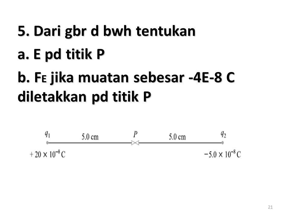 5. Dari gbr d bwh tentukan a. E pd titik P b. FE jika muatan sebesar -4E-8 C diletakkan pd titik P