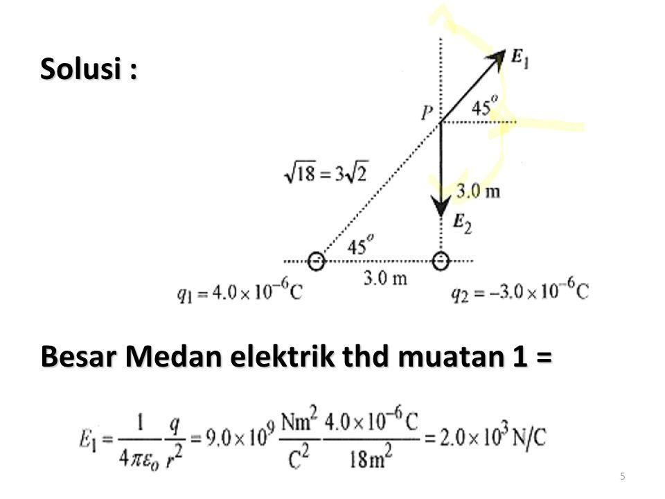 Solusi : Besar Medan elektrik thd muatan 1 =