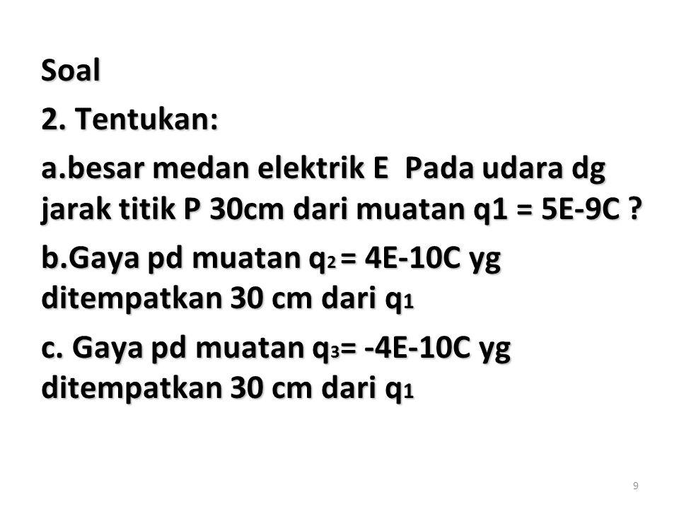 Soal 2. Tentukan: a.besar medan elektrik E Pada udara dg jarak titik P 30cm dari muatan q1 = 5E-9C