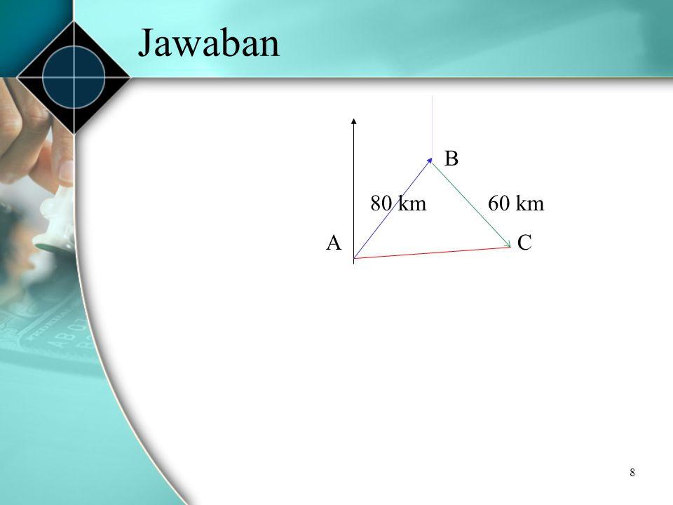 Jawaban B 80 km 60 km A C