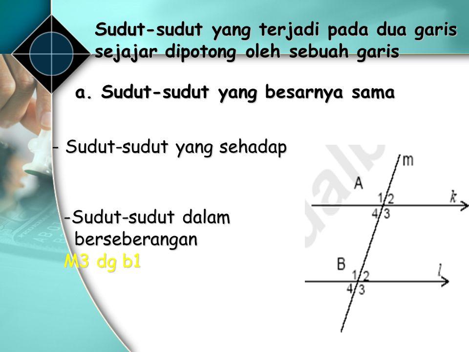 Sudut-sudut yang terjadi pada dua garis sejajar dipotong oleh sebuah garis