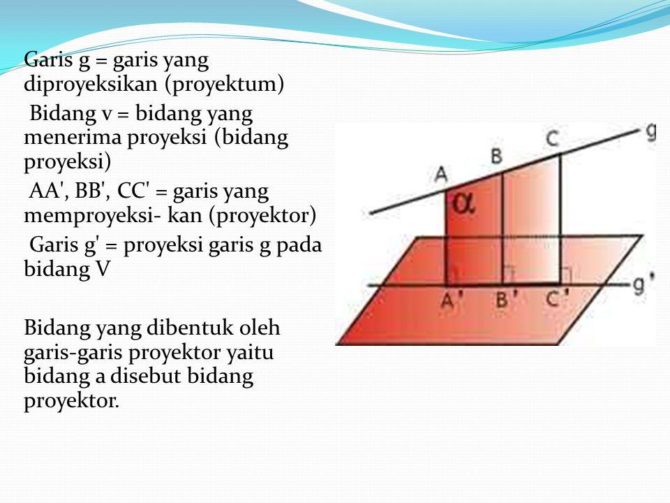 Garis g = garis yang diproyeksikan (proyektum) Bidang v = bidang yang menerima proyeksi (bidang proyeksi) AA , BB , CC = garis yang memproyeksi- kan (proyektor) Garis g = proyeksi garis g pada bidang V Bidang yang dibentuk oleh garis-garis proyektor yaitu bidang a disebut bidang proyektor.