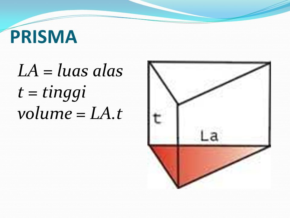 PRISMA LA = luas alas t = tinggi volume = LA.t