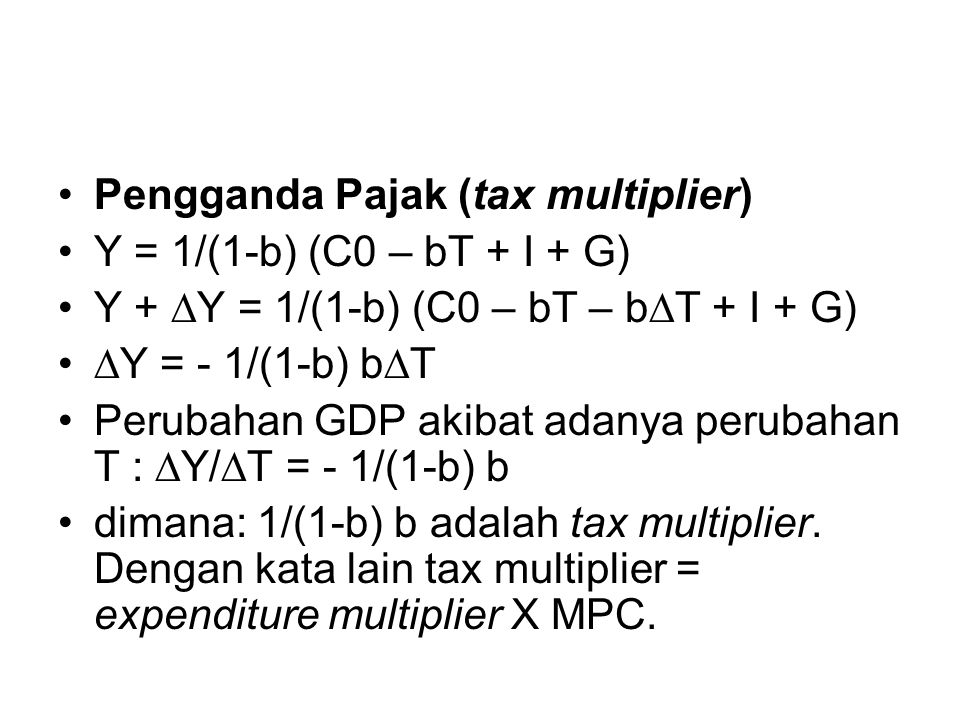 Pengganda Pajak (tax multiplier)