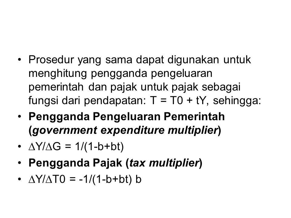 Prosedur yang sama dapat digunakan untuk menghitung pengganda pengeluaran pemerintah dan pajak untuk pajak sebagai fungsi dari pendapatan: T = T0 + tY, sehingga: