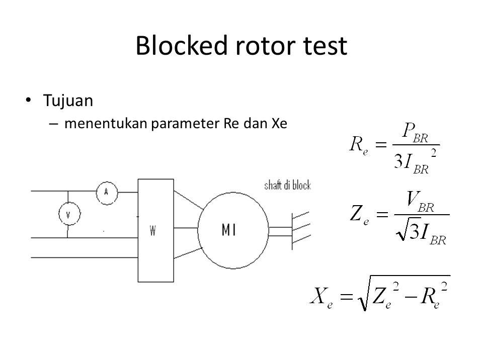 Blocked rotor test Tujuan menentukan parameter Re dan Xe
