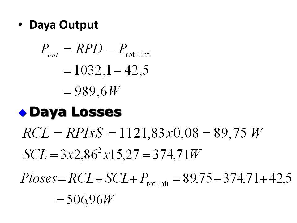 Daya Output Daya Losses