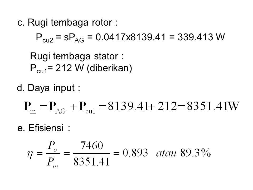 c. Rugi tembaga rotor : Pcu2 = sPAG = 0.0417x8139.41 = 339.413 W. Rugi tembaga stator : Pcu1= 212 W (diberikan)