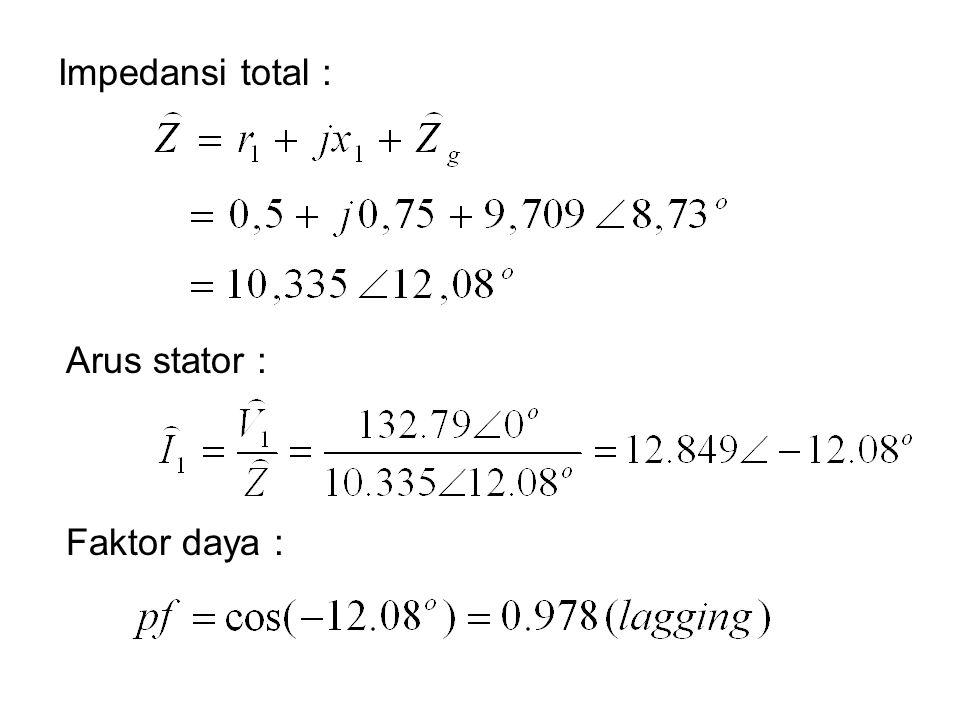 Impedansi total : Arus stator : Faktor daya :