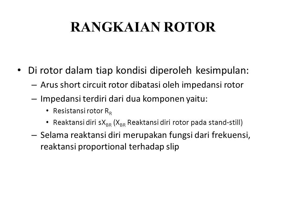 RANGKAIAN ROTOR Di rotor dalam tiap kondisi diperoleh kesimpulan: