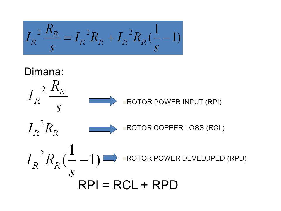 RPI = RCL + RPD Dimana: ROTOR POWER INPUT (RPI)