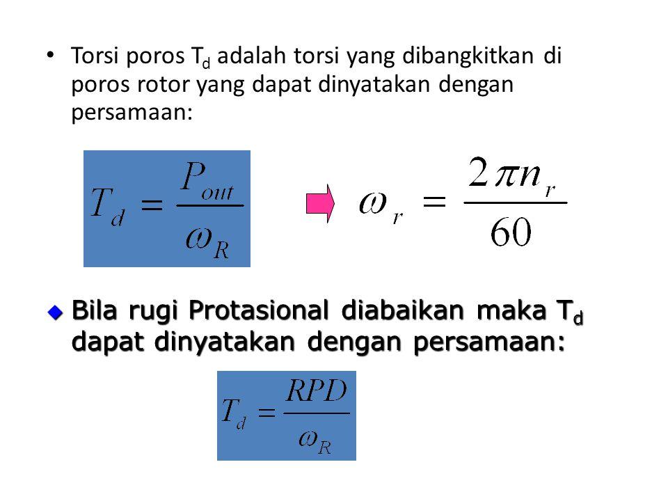 Torsi poros Td adalah torsi yang dibangkitkan di poros rotor yang dapat dinyatakan dengan persamaan: