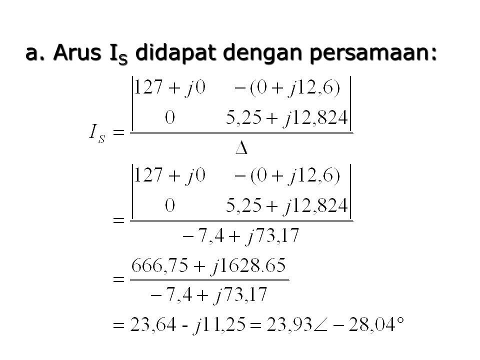 a. Arus IS didapat dengan persamaan: