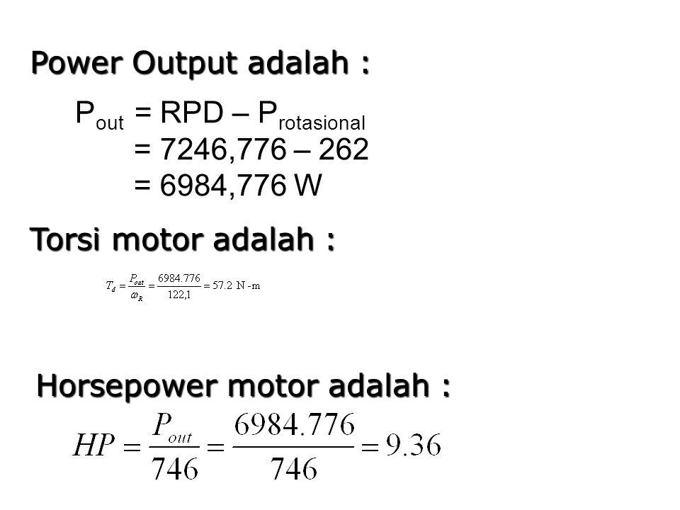 Power Output adalah : Pout = RPD – Protasional. = 7246,776 – 262. = 6984,776 W. Torsi motor adalah :