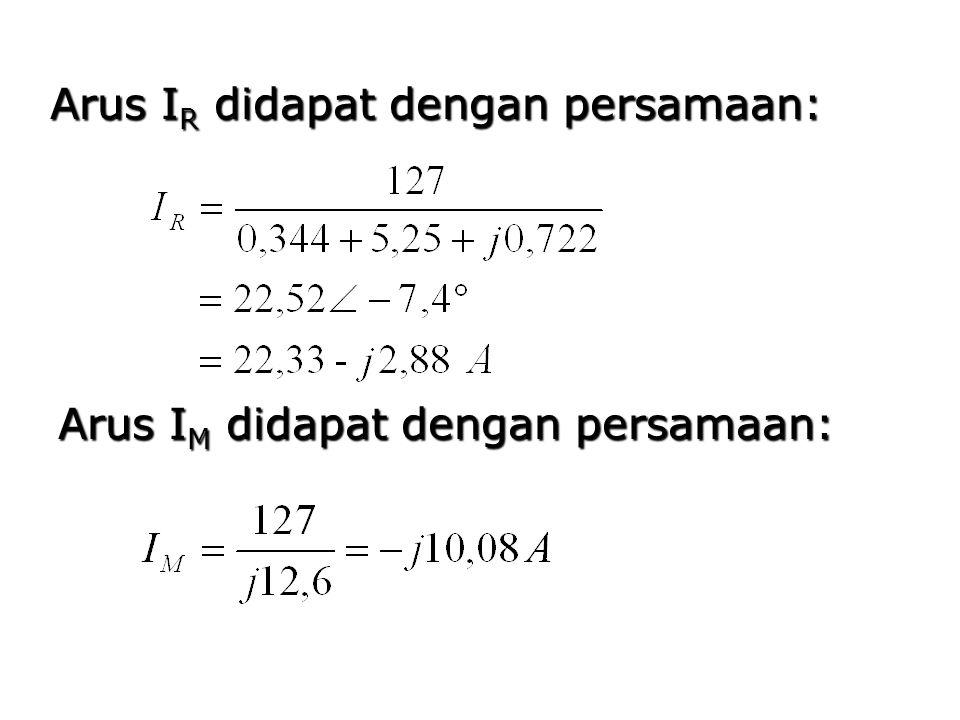 Arus IR didapat dengan persamaan: