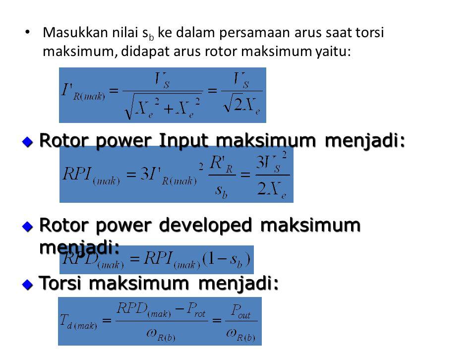 Rotor power Input maksimum menjadi: