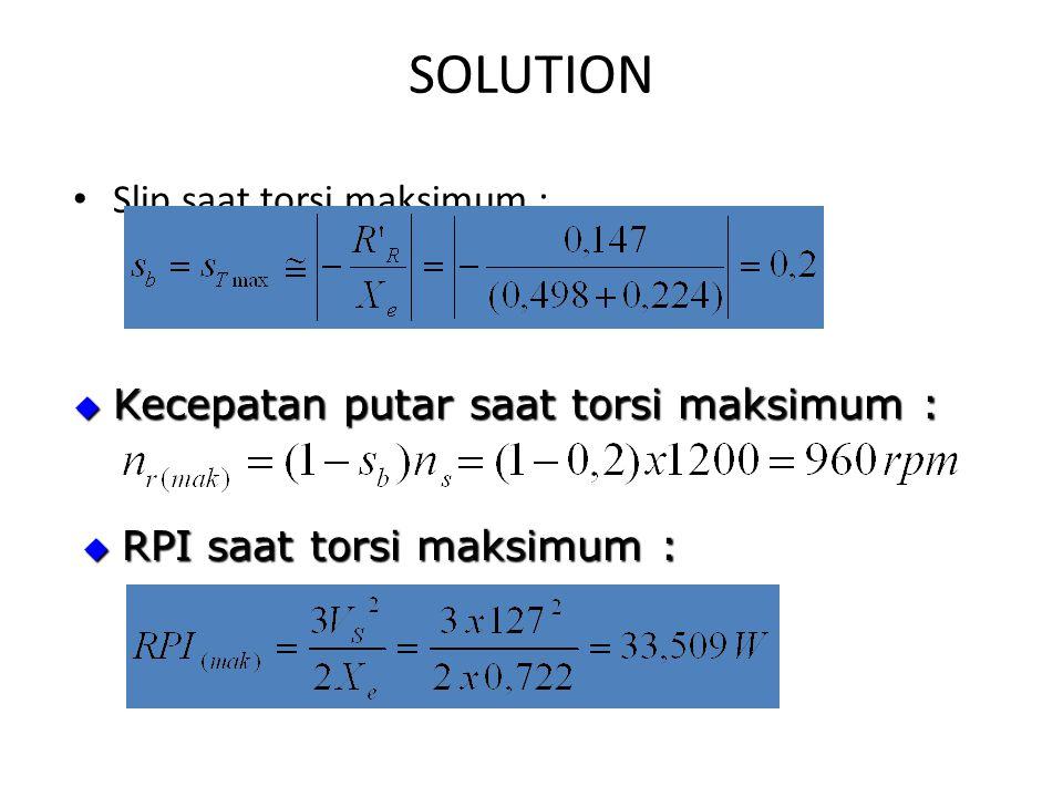SOLUTION Slip saat torsi maksimum :