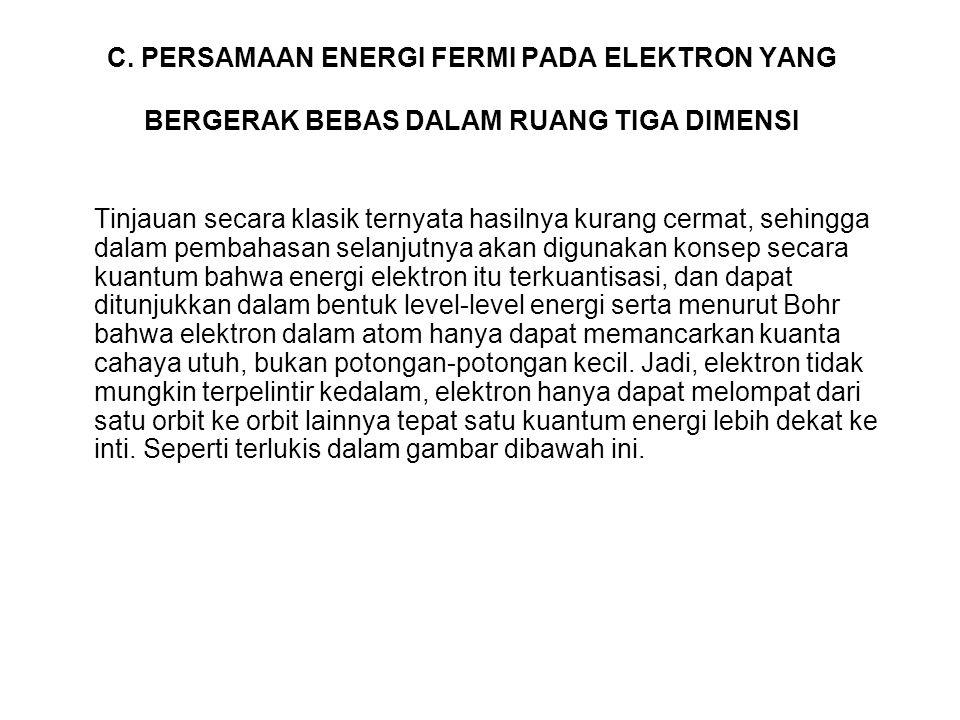 C. PERSAMAAN ENERGI FERMI PADA ELEKTRON YANG BERGERAK BEBAS DALAM RUANG TIGA DIMENSI