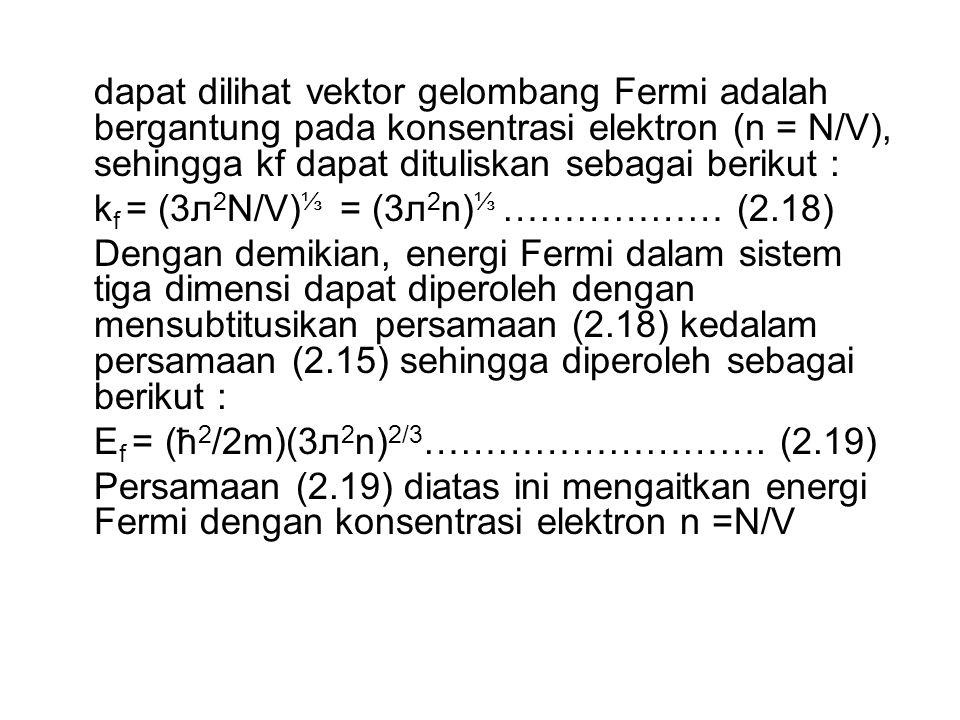 dapat dilihat vektor gelombang Fermi adalah bergantung pada konsentrasi elektron (n = N/V), sehingga kf dapat dituliskan sebagai berikut :