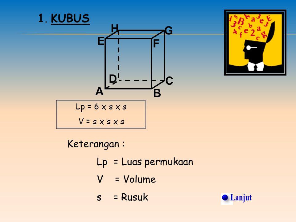 Lanjut 1. KUBUS H G E F D C A B Keterangan : Lp = Luas permukaan