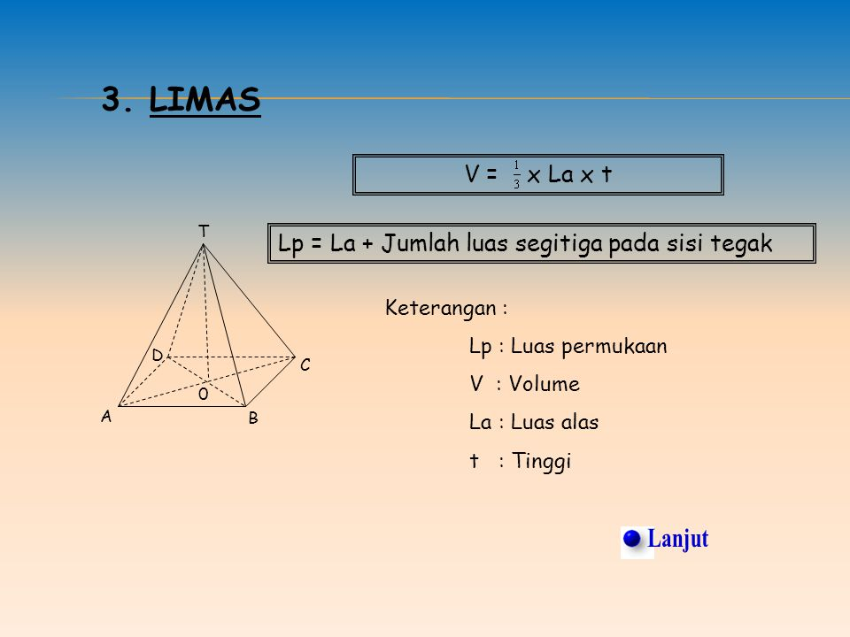 3. Limas V = x La x t. T. Lp = La + Jumlah luas segitiga pada sisi tegak. Keterangan : Lp : Luas permukaan.