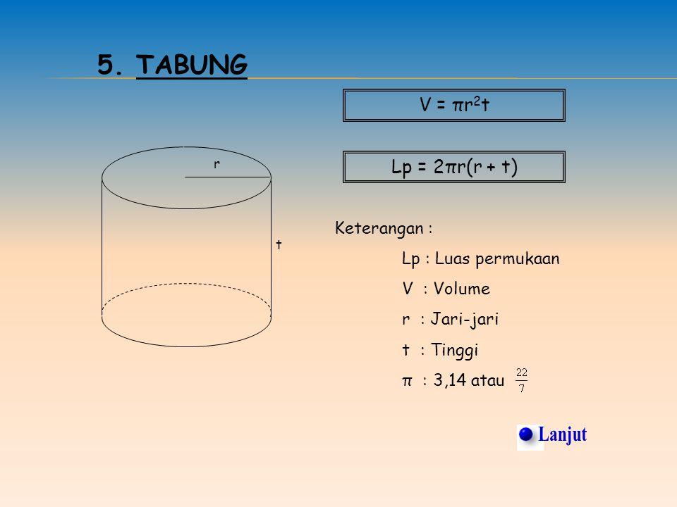 Lanjut 5. Tabung V = πr2t Lp = 2πr(r + t) Keterangan :