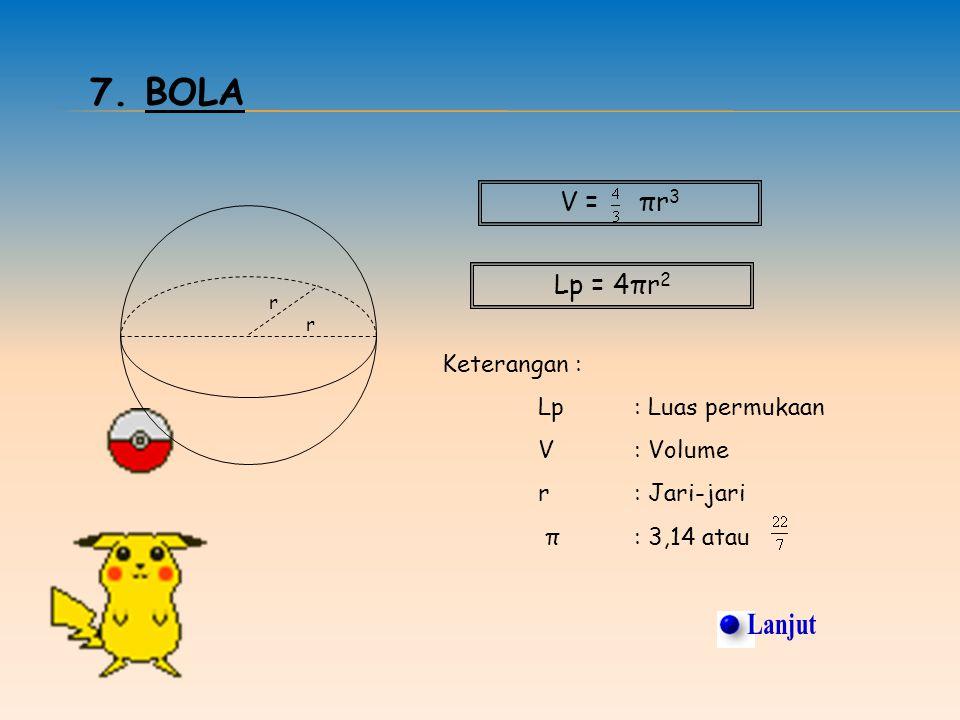 Lanjut 7. Bola V = πr3 Lp = 4πr2 Keterangan : Lp : Luas permukaan