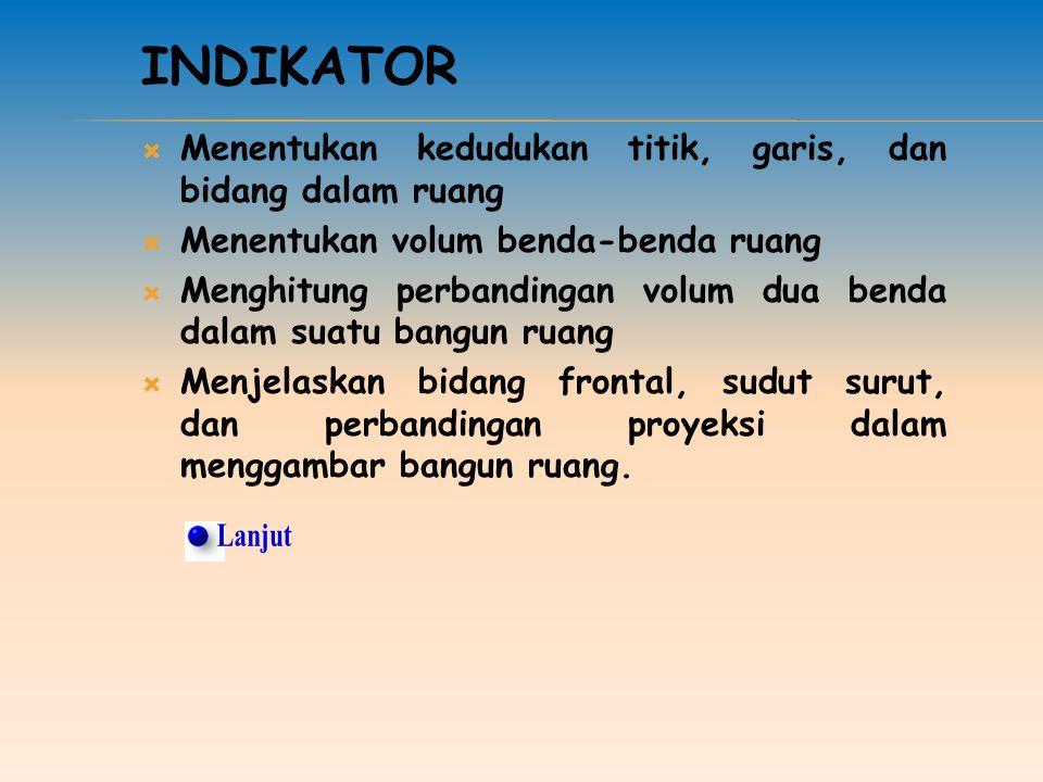 Indikator Menentukan kedudukan titik, garis, dan bidang dalam ruang. Menentukan volum benda-benda ruang.