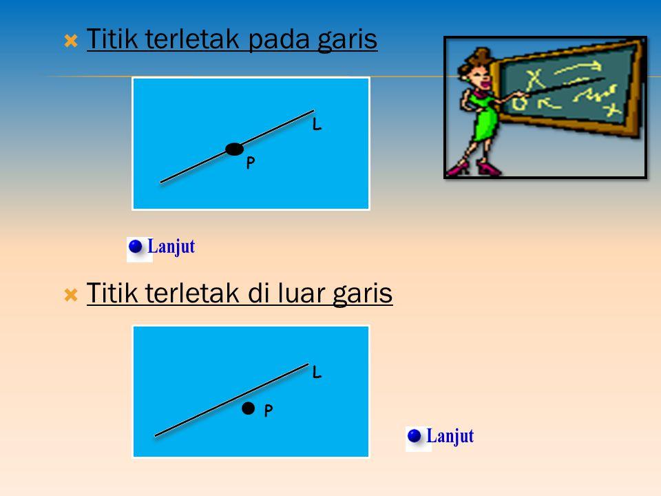 Lanjut Lanjut Titik terletak pada garis Titik terletak di luar garis L