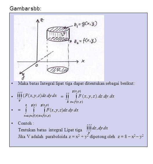 Gambar sbb: Maka batas Integral lipat tiga dapat ditentukan sebagai berikut: = Contoh : Tentukan batas integral Lipat tiga.