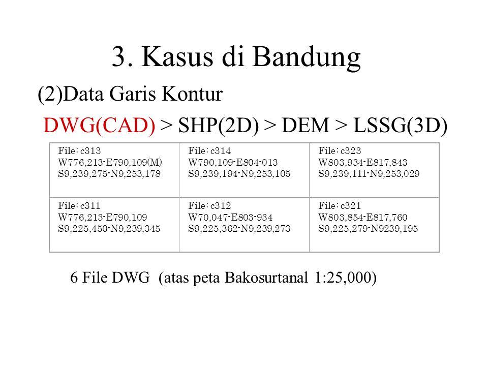 (2)Data Garis Kontur DWG(CAD) > SHP(2D) > DEM > LSSG(3D)