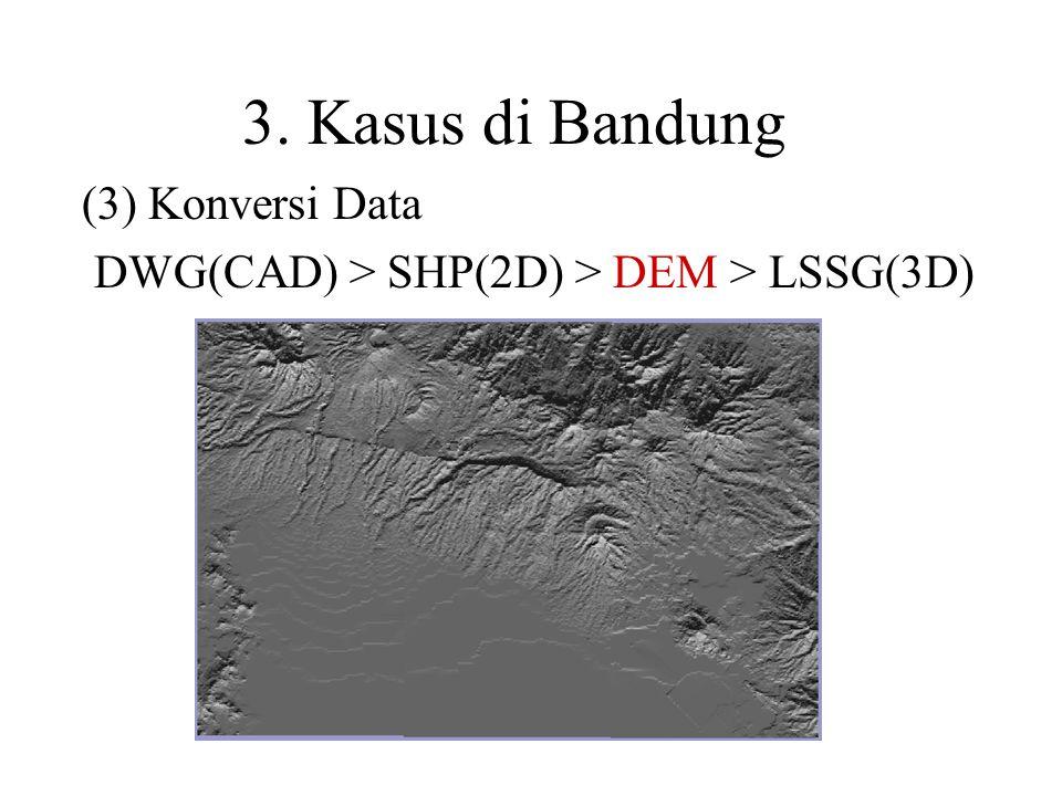 (3) Konversi Data DWG(CAD) > SHP(2D) > DEM > LSSG(3D)