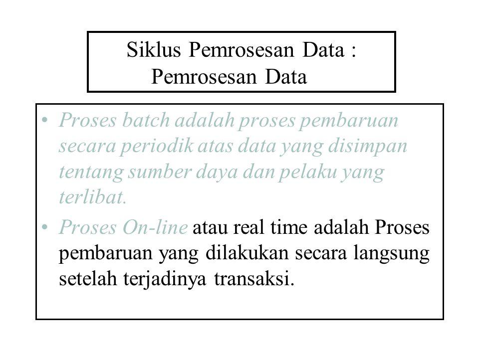 Siklus Pemrosesan Data : Pemrosesan Data