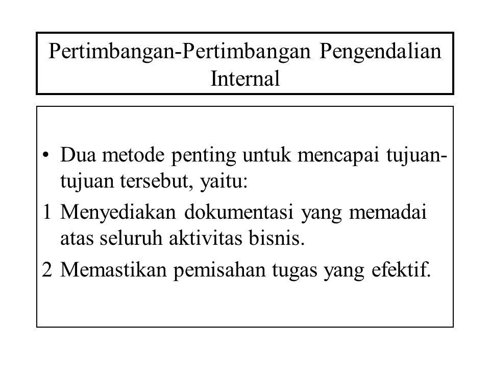 Pertimbangan-Pertimbangan Pengendalian Internal