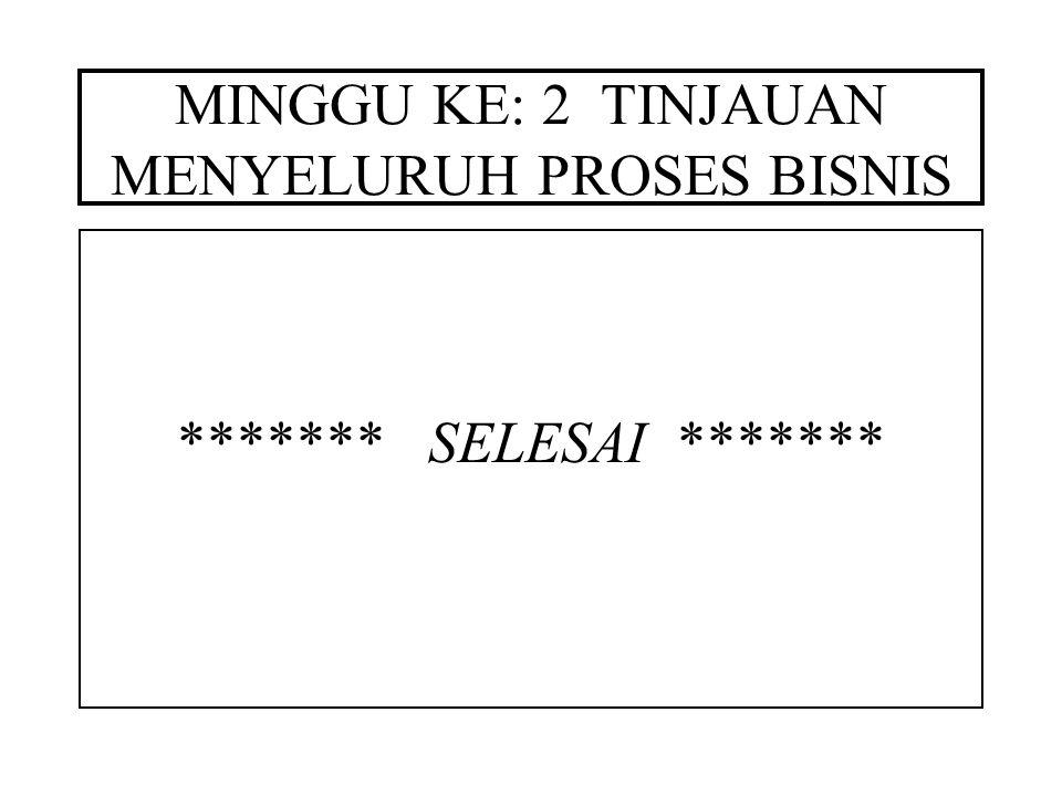 MINGGU KE: 2 TINJAUAN MENYELURUH PROSES BISNIS