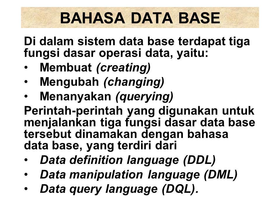 BAHASA DATA BASE Di dalam sistem data base terdapat tiga fungsi dasar operasi data, yaitu: Membuat (creating)