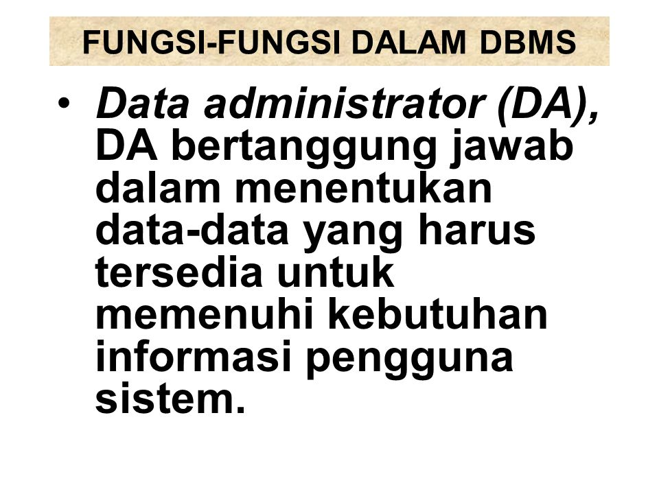 FUNGSI-FUNGSI DALAM DBMS