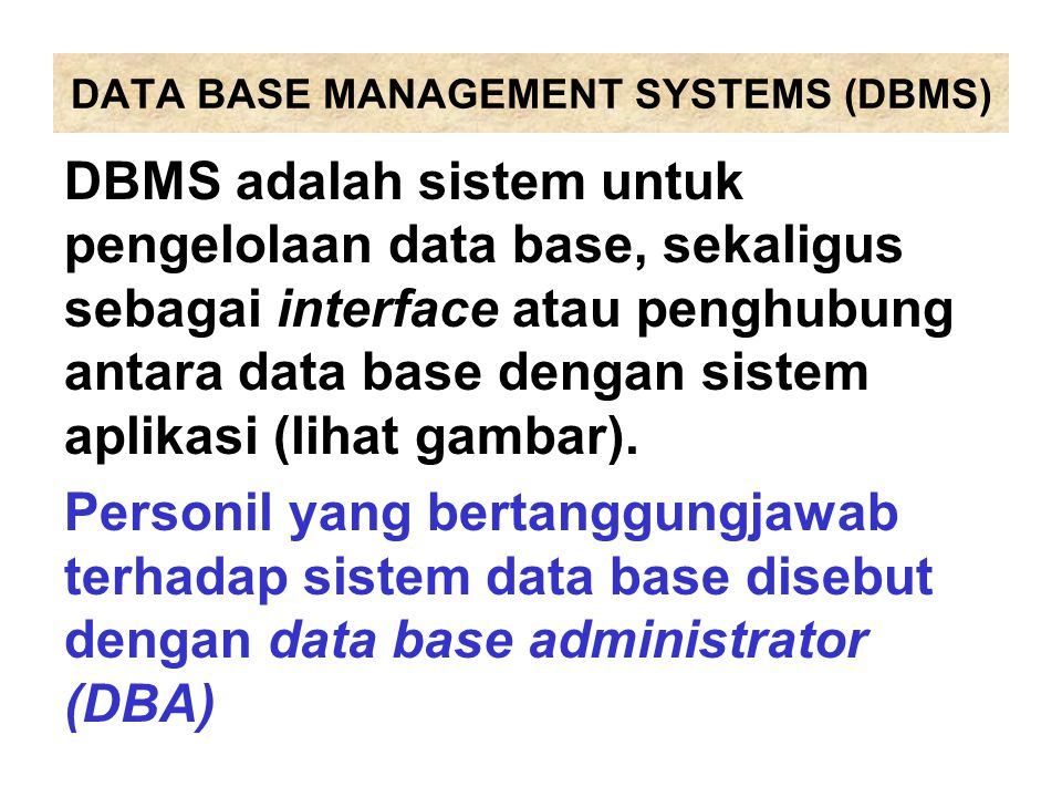 DATA BASE MANAGEMENT SYSTEMS (DBMS)
