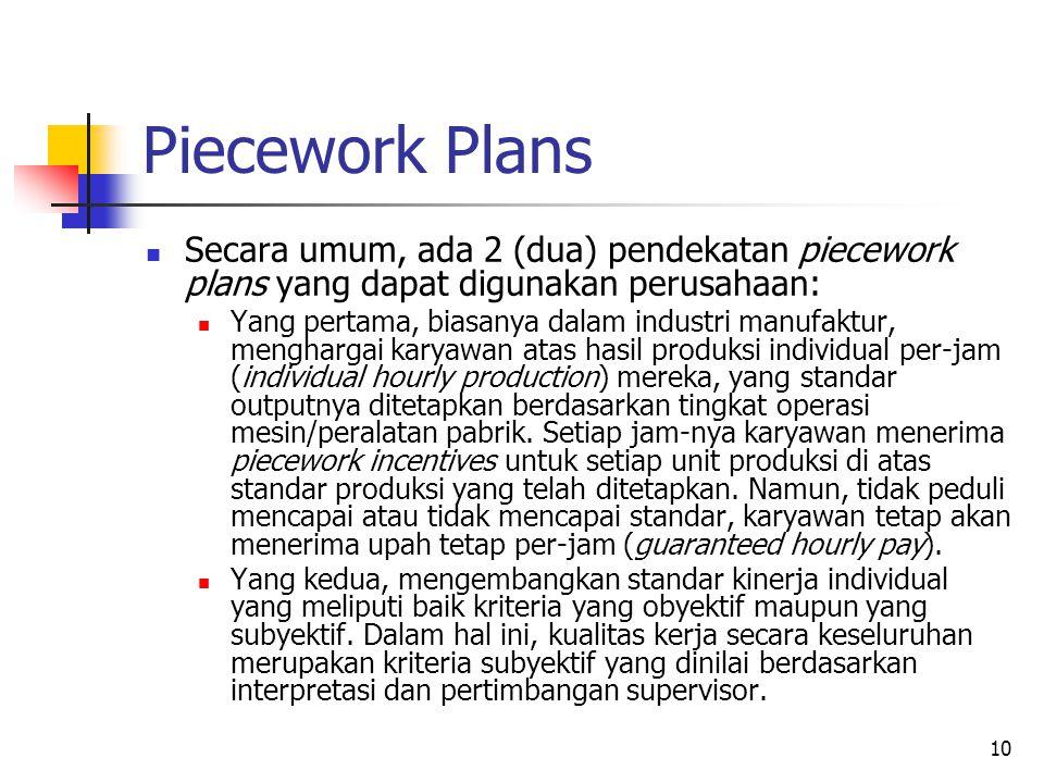 Piecework Plans Secara umum, ada 2 (dua) pendekatan piecework plans yang dapat digunakan perusahaan: